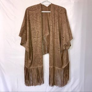Tan fringe kimono/ cardigan with punch cut fabric